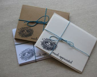 6 Handmade Birds Nest blank notecard set