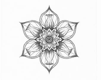 Small Dot-Work Mandala A4 Art Print