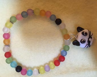 Multicolor frosted glass beaded Cat Bracelet