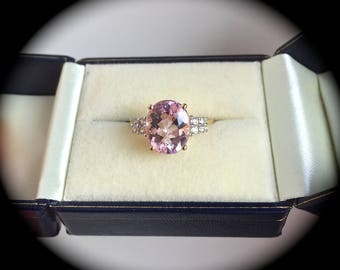 "Large 3.44ct Genuine Morganite Ring 9ct Y GOLD 'Certified"" SIZE P 1/2 - Exquisite Pink Tones!"