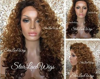 Lace Front Wig - Long Curly - Brown Auburn Burgundy Ombre - Dark Roots - Layers - Side Part - Heat Resistant Safe