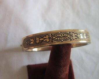 Antique Victorian Gold Filled Hinged Engraved Bangle Bracelet