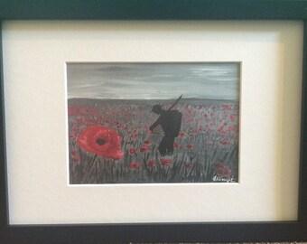 Poppy field print.