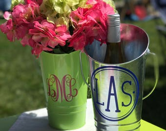 Monogrammed Market Bucket, Flower Bucket, Wine Caddy, Personalized Wine Bucket, Housewarming Gift, Hostess Gift, Engagement Gift