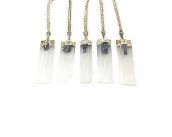 Mega Quartz Necklace - natural-white-quartz-blue-labradorite-boho-pendant