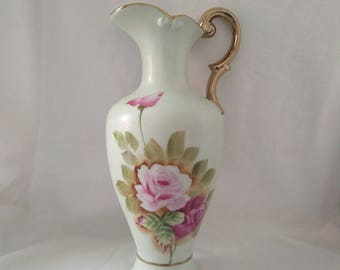Vintage Roses Hand Painted Ornate Pitcher Vase, Cottage Chic