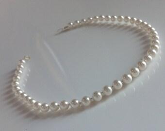 Swarovski crystal Pearl Hair vine single row bridal vine