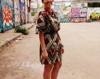 Wax afropop elastic waist, pointed sleeves dress