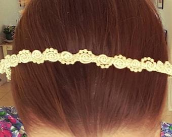 White beaded lace headband