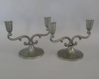 Tin Candle Holder-2 pieces- Swedish Tin
