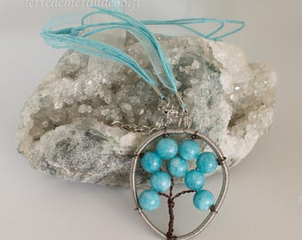 Tree of life pendant necklace acute marine