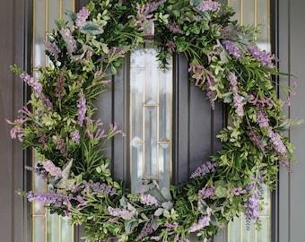 Summer Wreath-Spring Wreath-Lavender Wreath-Door Decor- Year Round Wreath-Mother's Day Gift-Boxwood and Lavender Wreath