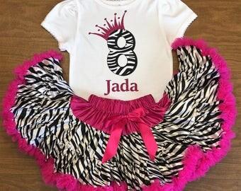 Pink Zebra Outfit, Zebra Birthday Outfit, Pink Zebra Birthday, Zebra Pettiskirt, birthday number tee, birthday tshirt