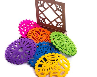 Colorful Felt Coasters- set of 6!!
