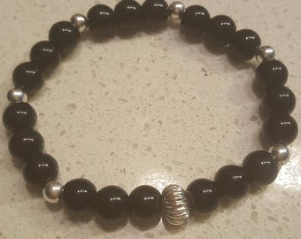 Black Jade bracelet with silver accents
