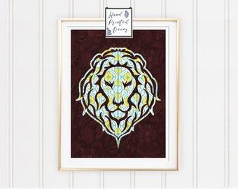 Lion Poster, Lion Painting, Lion Print, Animal Home Decor, Wall Art, Bedroom Decor, House Decor, Fabric Print, Fabric Art, Lion Face