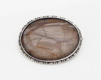 Vintage Art Deco Sterling Silver Butterfly Wing Brooch Pin