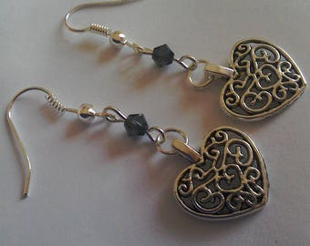 Silver plated filigree heart and swarovski crystal earrings