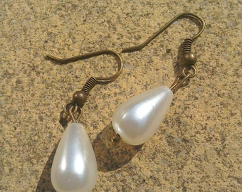 Faux pearl earrings sweet and simple