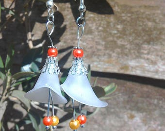 Calla lily lucite and faux pearl earrings