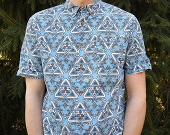 Patterned shirt Short sleeve unique Boho Vintage