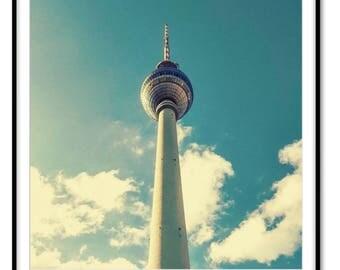 Berlin TV Tower, Berlin photography, Berlin wall art, Berlin poster, Berlin skyline, Germany Berlin