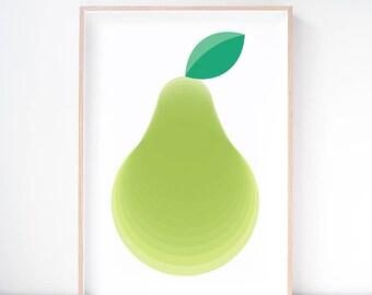 Packham Pear Art Print. Pear Wall Art. Fruit Art Print. Playroom Decor. Dining Room Art. Kitchen Decor. Nursery Print. Wall Decor.