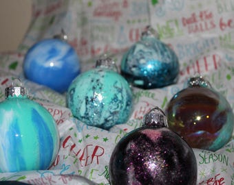 Winter Wonderland Painted Glass Ornaments Set of 6