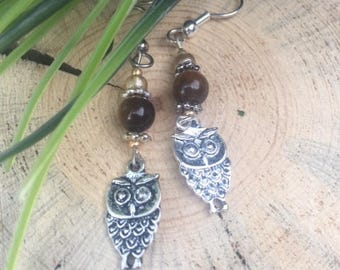Owl Charm Dangle Earrings brown tiger eye