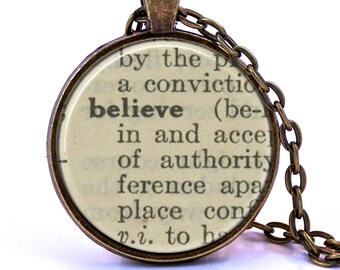 Believe Dictionary Pendant Necklace