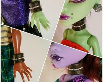 Monster high flexible dark punk collar necklace bracelet