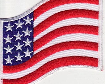 Fusible embroidered patch American flag patch