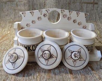 Wooden kitchen accessories salt pepper sugar jars containers #d111