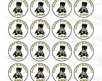 24 X Personalised  with Any Name Happy Birthday Batman  Edible Cake Decorations Cupcake Toppers #2