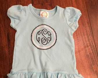 Monogrammed Toddler Shirt/Onesie with Double Circle/Embriodered/Monogram