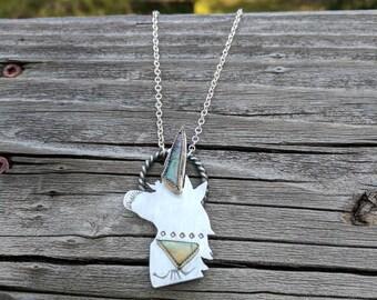 Sterling Silver Monarch Opal Unicorn Necklace