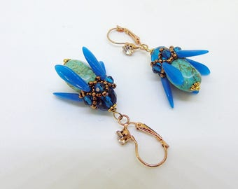 "Beaded turquoise earrings ""Blue blossoms"", handmade earrings, natural stone earrings, gift for her"