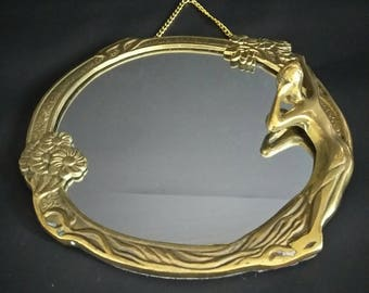 Vintage Art Nuveau Lady of the Lake Brass HANGING Mirror-Rare and Unique-Round Brass Woman Mirror