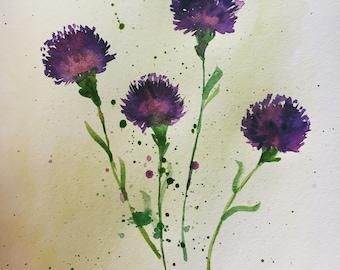 Watercolor Purple Thistle