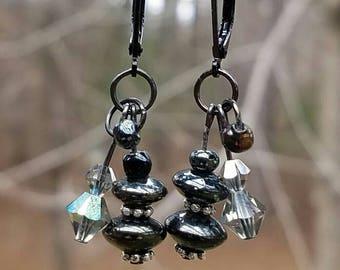 Dark green glass beads, Swarovski crystals, Nickel Free metals, Cluster Dangle