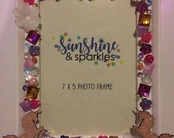 Unicorn Glitter, Sparkly, Hearts, Flowers, Stars, Gem, Crystal Embellished Photo Frame - Girls Birthday Present, Nursery