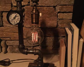 Steampunk Industrial Pipe Lamp-  #105 Little Buddy