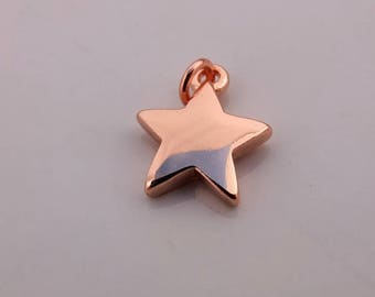 Rose Gold Star Charm - 1 or 5 pieces, Rose Gold plated Charm, Findings, Bracelet Charm, Jewellery Making, Crafting Supplies, UK seller