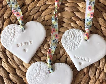 Personalised clay hanging heart. Perfect keepsake gift. Wedding, new baby.