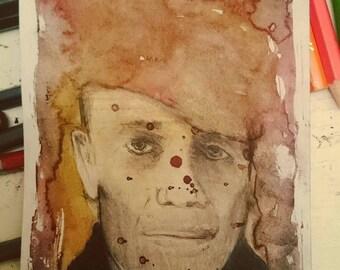 Original hand painted portrait of Ed Gein