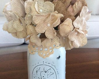 Shabby Chic Chalk Painted Mason Jar with Flowers