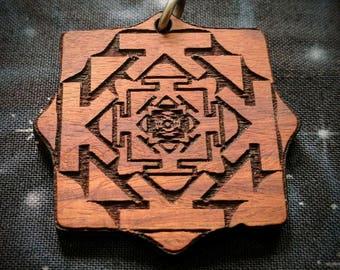 Yantra Bhupur Fractal Talisman / Amulet / Sacred Geometry Pendant