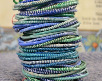 """Set of 8 - """"Mixed Blues & Greens"""" - recycled rubber flip flop bracelets from Mali"""