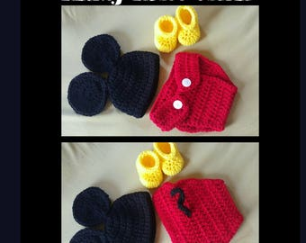 Newborn Crochet Mickey Mouse Outfit and Prop