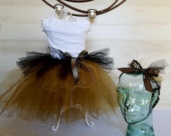 Tutu and matching headband in Black and Gold Tulle
